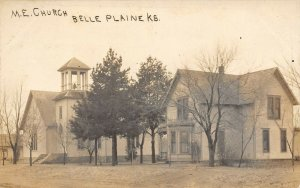 LP20 Belle Plaine   Kansas RPPC  Postcard M. E. Church