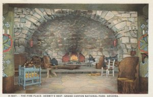GRAND CANYON , AZ , 00-10s; Fire Place , Hermit's Rest ; Fred Harvey H-1487