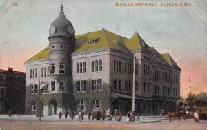 Topeka Kansas c1910 Postcard Rock Island Depot Train Station