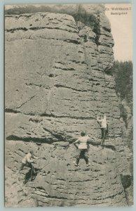 Gr. Wehlthurm I Basteigebiet Switzerland~Mountain Climbers Team~Sheer Cliff~1907