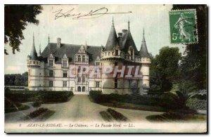 Old Postcard Azay le Rideau Chateau La Facade North
