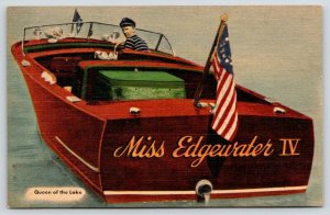 Lake Ozark Missouri~Bill Dean's Fleet~Miss Edgewater IV~Motor Boat~1940s Linen