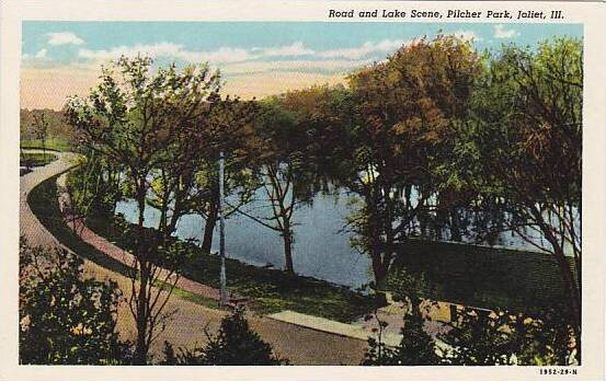 Illinois Joliet Road And Lake Scene Pilcher Park