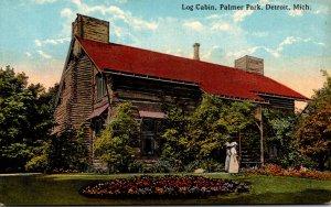 Michigan Detroit Palmer Park Log Cabin Curteich