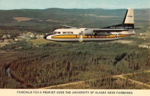 Fairbanks Alaska Fairchild Propjet Airplane Vintage Postcard K72812