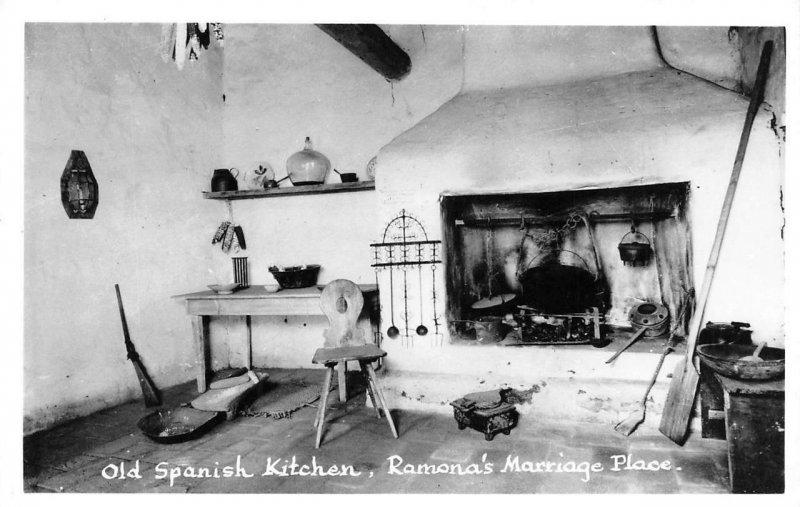 RPPC Old Spanish Kitchen Ramona's Marriage Place San Diego, CA Vintage Postcard