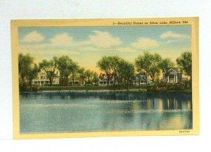 Milford Delaware Homes On Silver Lake Linen Vintage Postcard
