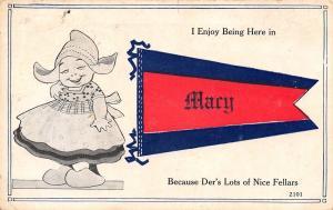 Der's Lots of Nice Fellars Here in Mary KY SC AL ?~1914 Pennant Postcard