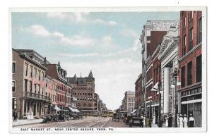 York PA East Market Street Near Center Square Vntg Postcard