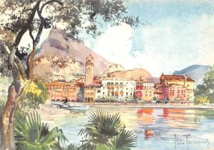 Italy Riva del Garda Panorama General view Painting Tower Clock
