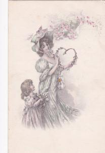 Mother & Daughter wearing beautiful outfits, bonnet,  PU-1917