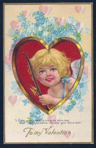 Cupid in a Heart To My Valentine used c1910's