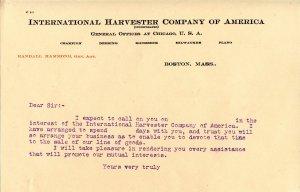 International Harvester Co. - Sales Correspondence, Order Form circa 1900