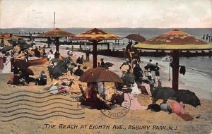 The Beach at Eighth Ave., Asbury Park, New Jersey, Early Postcard, Used in 1907