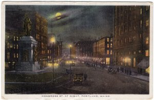 Portland, Maine, Congress St. At Night