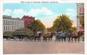 Load of Almonds, Stockton, California, Early Postcard, Unused