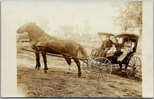 Vintage Real Photo RPPC Postcard Family in Horse Buggy c1910s UNUSED