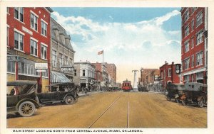 G49/ Miami Oklahoma Postcard c1910 Main Street Stores Autos Trolley