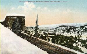 UT - Ogden Route, Southern Pacific Railroad. Train emerging from snow shed