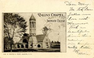 NH - Hanover. Dartmouth College, Rollins Chapel.  *RPO-Newport & Springfield ...