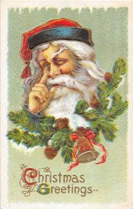 B1/ Santa Claus Merry Christmas Holiday Postcard 1911 Bellevue Ohio Nose Gold 5