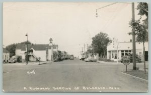 Belgrade MN~Pure & Mobil Gas Stations~Cafe~Barber Shop~Hamm's Beer~1949 RPPC