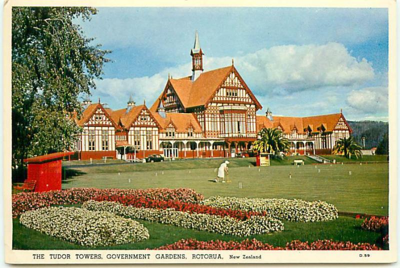Postcard New Zealand Tudor Towers Gov Gardens Rotorua Free Shipping  # 2375A