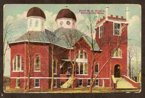 Postcard- First M.E. Church -Cherryvale, KS-Flag Cancel-1913