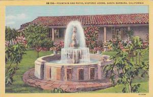 Fountain And Patio, Historic Adobe, Santa Barbara, California, 1930-1940s