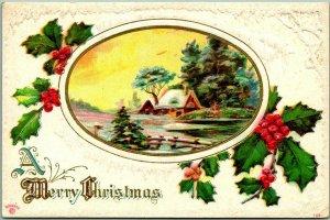 Vintage 1912 A MERRY CHRISTMAS Embossed Greetings Postcard Winter Scene Holly