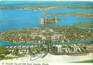 Sarasota Florida Aerial St Armands Key Lido Beach Gulf of Mexi  Postcard  # 6646