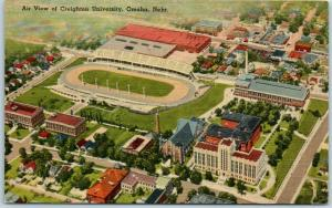 Omaha, Nebraska Postcard Air View of CREIGHTON UNIVERSITY Stadium Linen 1947