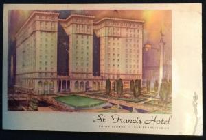 St Francis Hotel SFO CA Unused Postcard LB