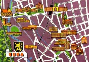 Vintage 1983 GERA East Germany, Street, Map Buildings Postcard ES6