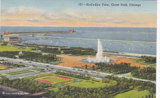 Illinois Chicago Birds Eye View Grant Park Curteich
