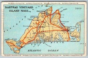 1927 MARTHAS VINEYARD ISLAND MASSACHUSETTS MAP*TO BRAINTREE MASS*MRS W L COLLINS