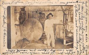 RPPC: Uncle Currier by Great Big Grinder Blade in Factory Shop~c1911 Postcard