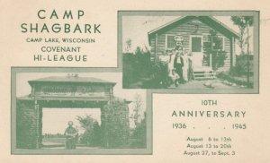 CAMP LAKE, Wisconsin, 1945; Camp Shagbark, Covenant Hi-League 10th Anniversar...