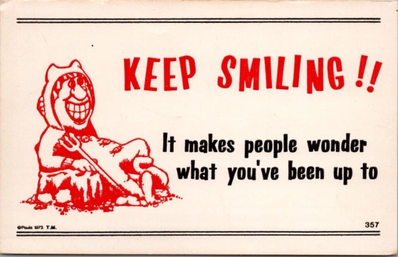 Keep Smiling Comic Humor Funny Paula Company Unused Postcard D40