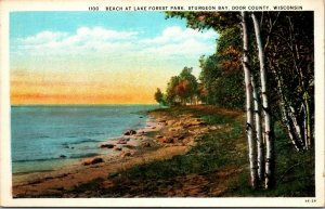 STURGEON BAY WISONSIN-BEACH AT LAKE FOREST PARK-DOOR COUNTY 1920s POSTCARD