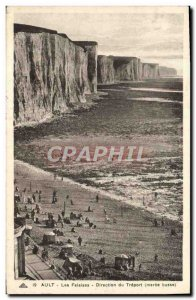 Old Postcard Ault Cliffs Treport low Maree From Direction