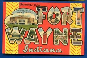 Fort Wayne Indiana in Large Letter Letters linen postcard
