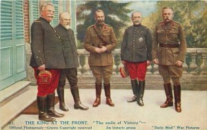 British Military WW! UK Royalty Daily Mail Ear Pictures 1918 King Postcard 6579