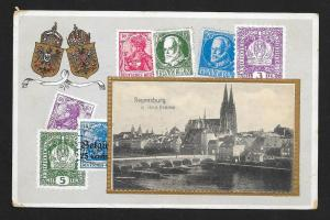 GERMANY Stamps on Postcard Occupied Areas Used Feldpost c1917
