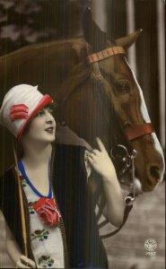 Beautiful Woman & Horse c1920s Art Deco Real Photo Postcard