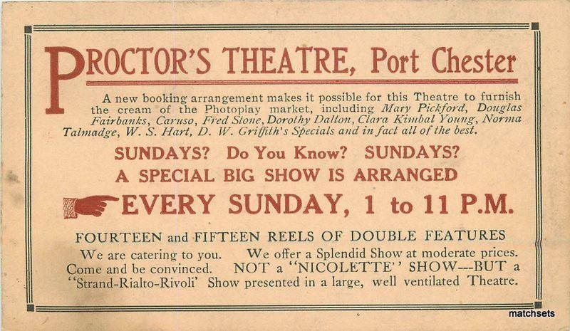 c-1915 Proctor's Theater Advertising Port Chester NEW YORK postcard 9230