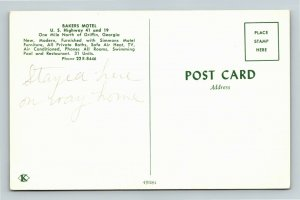 Griffin GA- Georgia, Bakers Motel, Aerial View, Advert, Vintage Chrome Postcard