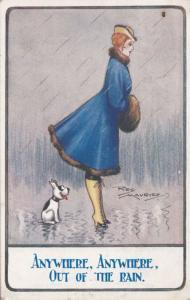 Peeping Tom Dog Looking Lady Upskirt in Rain Antique Comic Humour Postcard