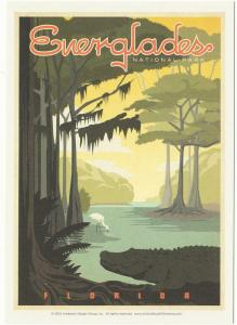 Postcard of Everglades National Park Florida Keys Travel Poster Style Postcard