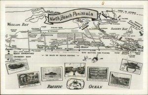 Washington Map North Bech Peninsula Baker's & Willapas Bay Real Photo Postcard